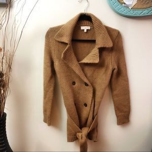 TORY BURCH Amalie Belted Cardigan Sweater Tan